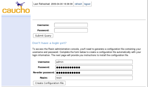 create admin password